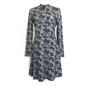 Ivanka Trump Floral Long Sleeve Dress Grey Black